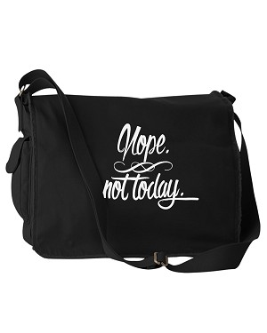 Funny Nope Not Today Adulting Black Canvas Messenger Bag