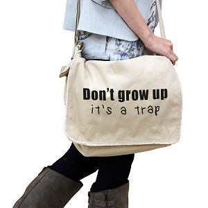 Funny Don't Grow Up It's a Trap Kid Adult JDM 14 oz. Authentic Pigment-Dyed Raw-Edge Messenger Bag Tote