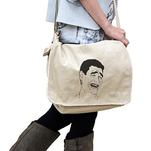 Yao Ming Bitch Please Meme Face 14 oz. Authentic Pigment-Dyed Raw-Edge Messenger Bag Tote