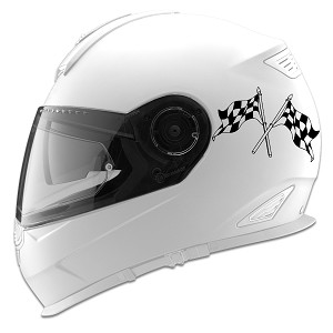 Crossed Checkered Racing Flags Auto Car Racing Motorcycle Helmet Decal