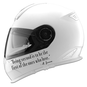 Being Second Senna Quote Auto Car Racing Motorcycle Helmet Decal