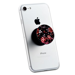Black Red Floral Print 2 Sticker Set for Pop Grip Stent for Phones and Tablets (Stickers Only)