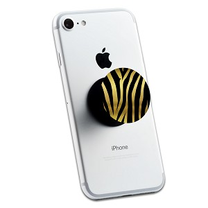 Gold Glitter Zebra Print 2 Sticker Set for Pop Grip Stent for Phones and Tablets (Stickers Only)