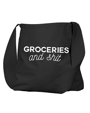Funny Groceries And Sh*t Mom Shopping Bag Black Canvas Satchel Bag