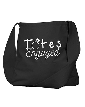 Funny Totes Engaged Bride To Be Diamond Ring Black Canvas Satchel Bag