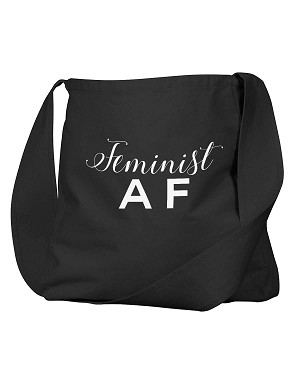 Funny Feminist AF Black Canvas Satchel Bag