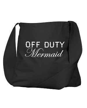 Funny Off Duty Mermaid Pool Tote Black Canvas Satchel Bag