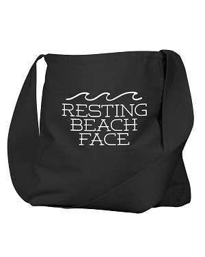 Funny Resting Beach Face Ocean Waves Pool Tote Black Canvas Satchel Bag