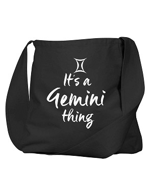 Funny It's A Gemini Thing Zodiac Sign Black Canvas Satchel Bag