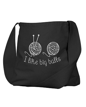 Funny I Like Big Balls Yarn Knitting Black Canvas Satchel Bag