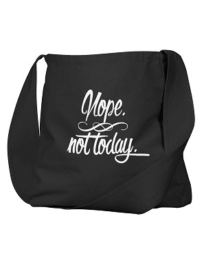 Funny Nope Not Today Adulting Black Canvas Satchel Bag