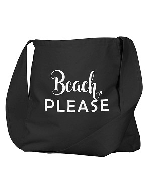 Funny Beach, Please Parody Black Canvas Satchel Bag
