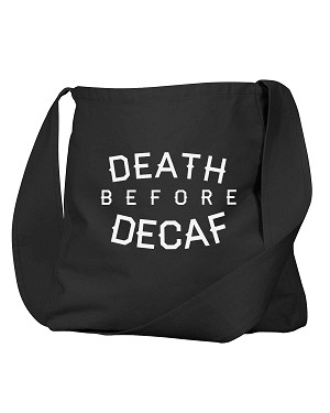 Funny Death Before Decaf Coffee Black Canvas Satchel Bag