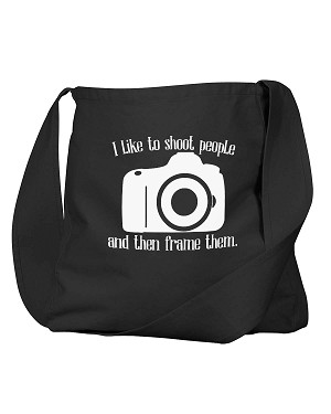 Funny I Like To Shoot People And The Frame Them Photographer Black Canvas Satchel Bag