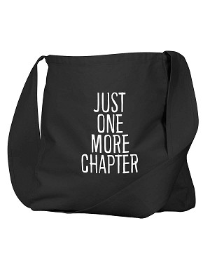 Funny Bookworm Just One More Chapter Black Canvas Satchel Bag