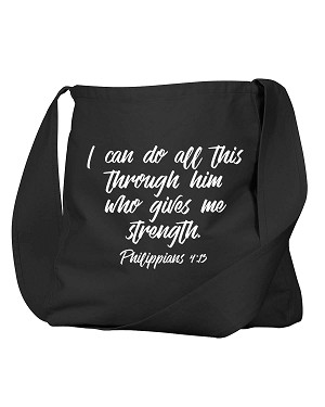 I Can Do All This Through Him Philippians 4:13 Bible Quote Phrase Black Canvas Satchel Bag