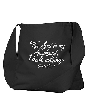 The LORD Is My Shepherd, I Lack Nothing Bible Quote Phrase Black Canvas Satchel Bag