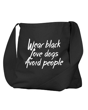 Funny Wear Black Love Dogs Avoid People Black Canvas Satchel Bag
