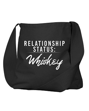 Funny Relationship Status:Whiskey Alcohol Black Canvas Satchel Bag