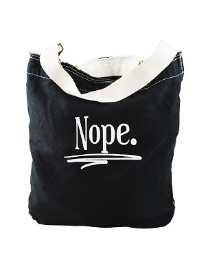 Funny Nope Saying Black Canvas Slouch Tote Bag