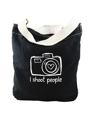 Funny I Shoot People Camera Photographer Black Canvas Slouch Tote Bag