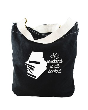 Funny My Weekend Is All Booked Studying Student Black Canvas Slouch Tote Bag