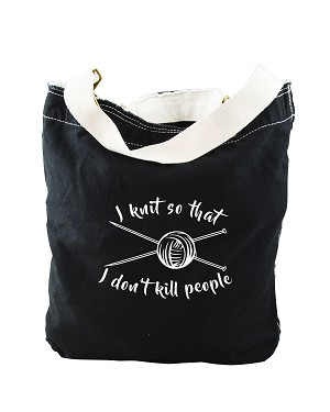 Funny I Knit So That I Don't Kill People Black Canvas Slouch Tote Bag