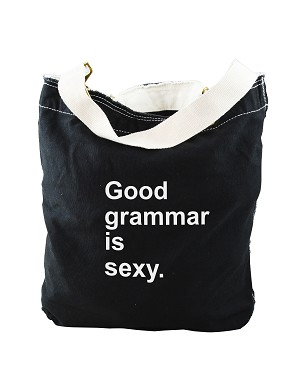 Funny Good Grammar Is Sexy Black Canvas Slouch Tote Bag