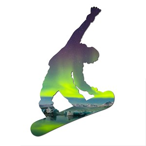 Snowboarder Borealis Silhouette Color Vinyl Sports Car Laptop Sticker - 6""