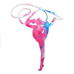 Rhythmic Gymnast Pink Abstract Silhouette Color Vinyl Sports Car Laptop Sticker - 6""
