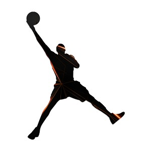 Basketball Player Abstract Silhouette Color Vinyl Sports Car Laptop Sticker - 6""