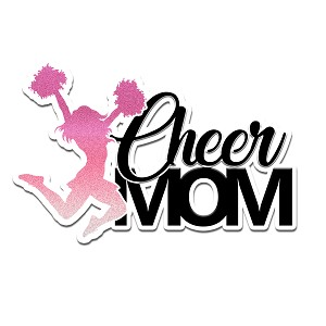 Cheer Mom Pink Silhouette Color Vinyl Sports Car Laptop Sticker - 6""