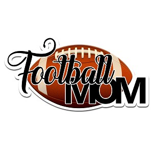 Football Mom Color Vinyl Sports Car Laptop Sticker - 6""