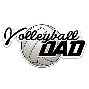Volleyball Dad Color Vinyl Sports Car Laptop Sticker - 6""