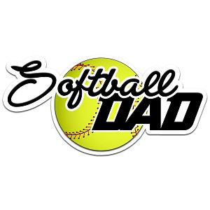 Softball Dad Color Vinyl Sports Car Laptop Sticker - 6""