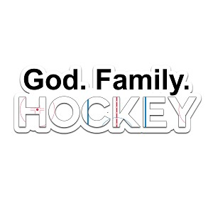 God Family Hockey Color Vinyl Sports Car Laptop Sticker - 6""