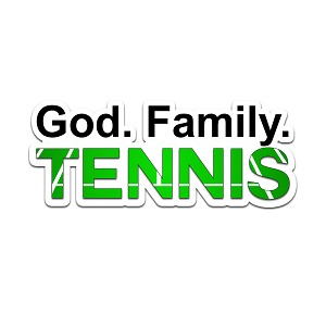 God Family Tennis Color Vinyl Sports Car Laptop Sticker - 6""