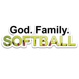 God Family Softball Color Vinyl Sports Car Laptop Sticker - 6""