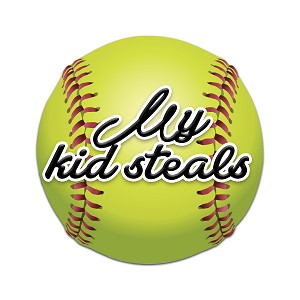 My Kid Steals Softball Color Vinyl Sports Car Laptop Sticker - 6""