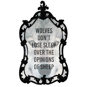 Wolves Don't Lose Sleep Over The Opinions Of Sheep Quote Wolf Sticker 5""