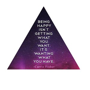 Being Happy Isn't Getting What You Want Fisher Quote Carrie Sticker 4""