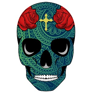 Sugar Skull Teal Red Roses Paisley Day Of The Dead Sticker 4""