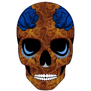 Sugar Skull Gold Blue Roses Paisley Day Of The Dead Sticker 4""