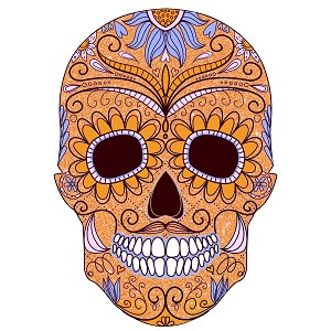 Sugar Skull Gold Purple Blue Paisley Day Of The Dead Sticker 4""