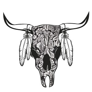Paisley Cow Skull Feathers Horns Sticker 5""