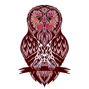 Glitter Pink Burgundy Owl Silhouette Animal Sticker 5""