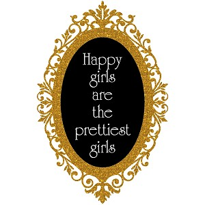 Glitter Cameo Frame Happiest Girls Are The Prettiest Quote Sticker 5""