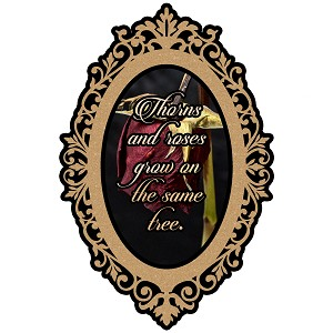 Glitter Cameo Frame Thorns And Roses Grow On The Same Tree Quote Sticker 5""
