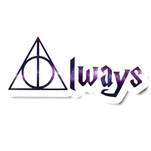 Always Deathly Inspired Hallows Purple Magic Sticker 5""