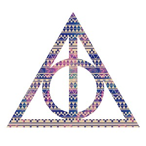 Tribal Deathly Inspired Hallows Pink Purple Aztec Triangle Sticker 5""
